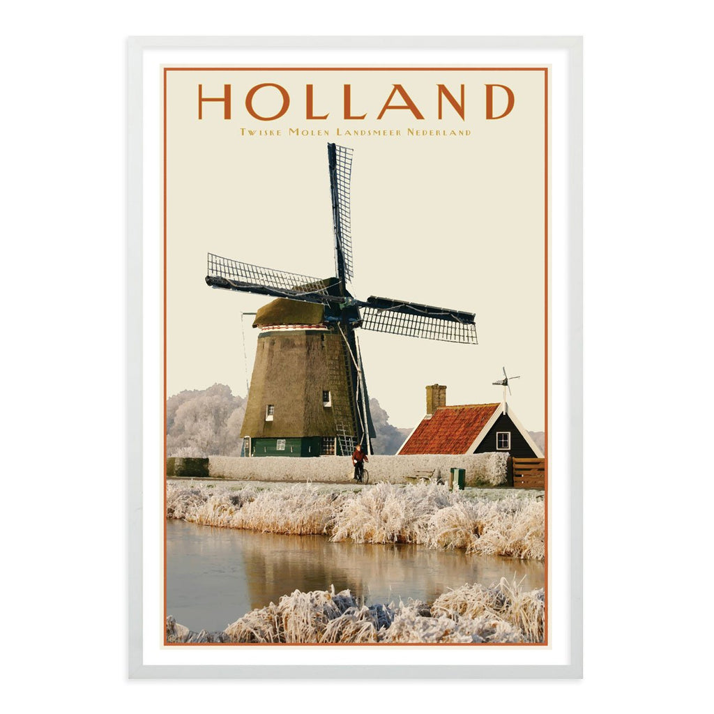 North Holland Windmill white framed print. Vintage travel style poster. Original design by places we luv