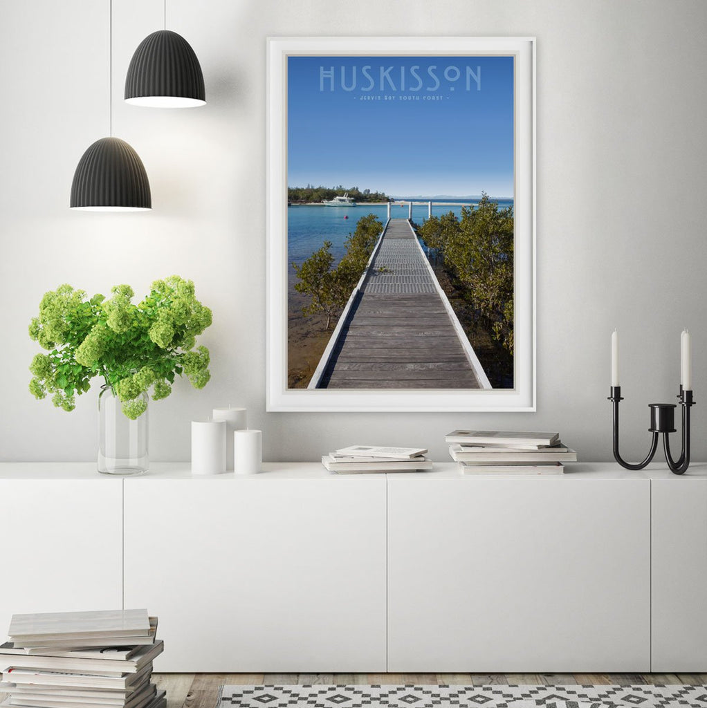 Huskisson vintage travel style framed print by places we luv