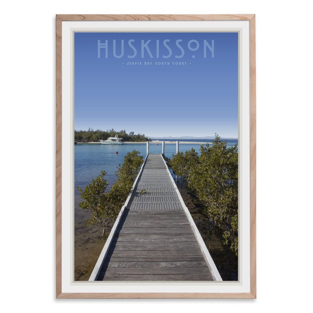 Huskisson vintage travel style oak framed print by places we luv
