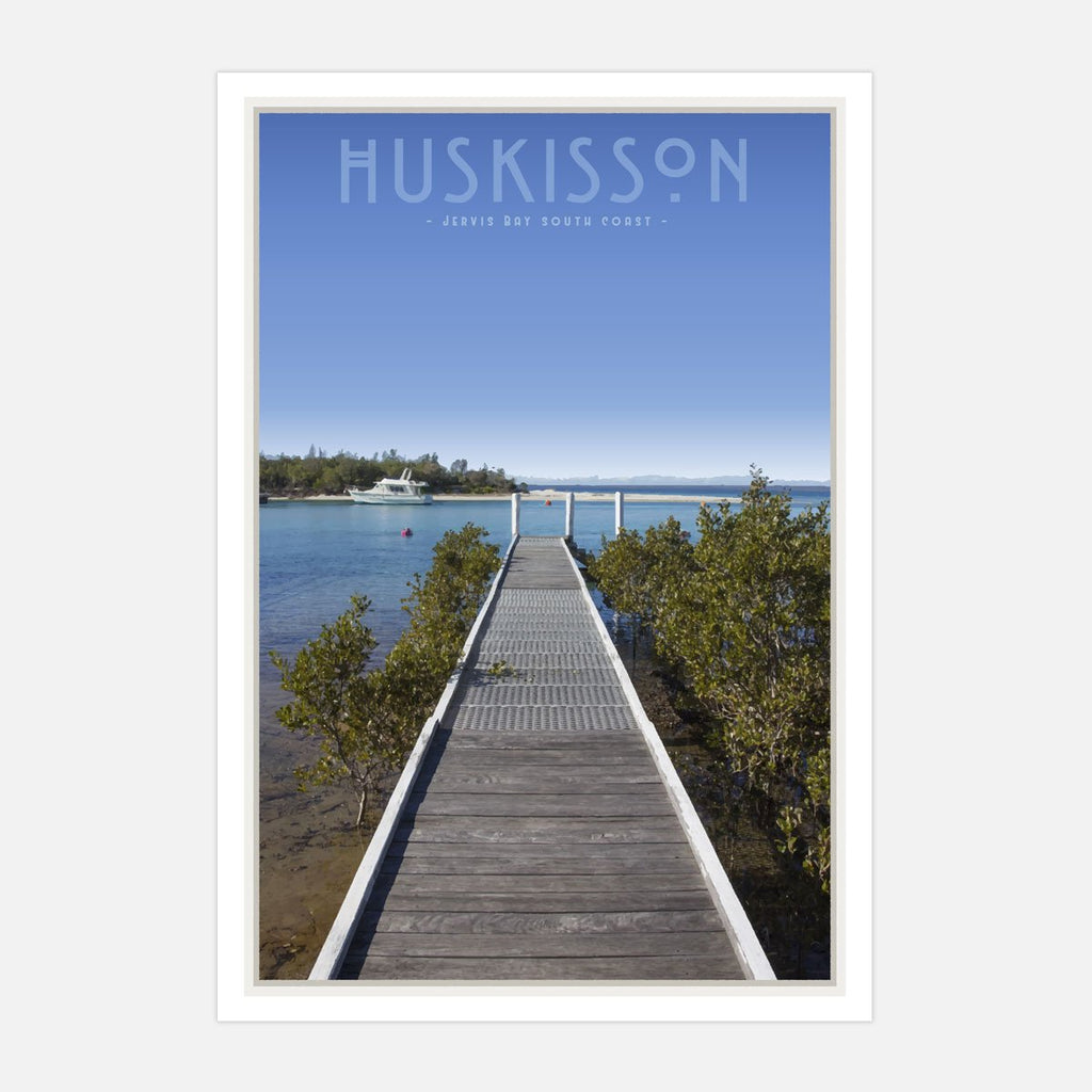 Huskisson vintage travel style print by places we luv