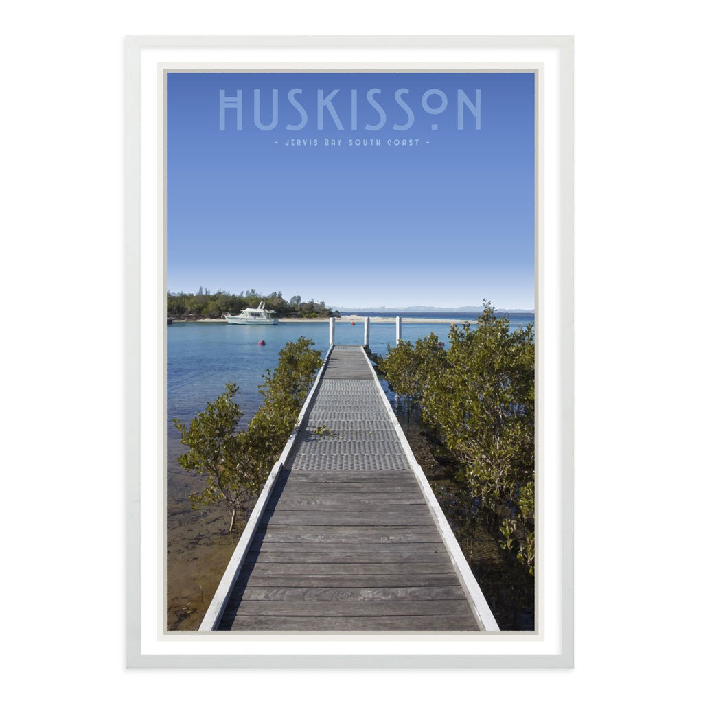 Huskisson vintage travel style framed poster by places we luv