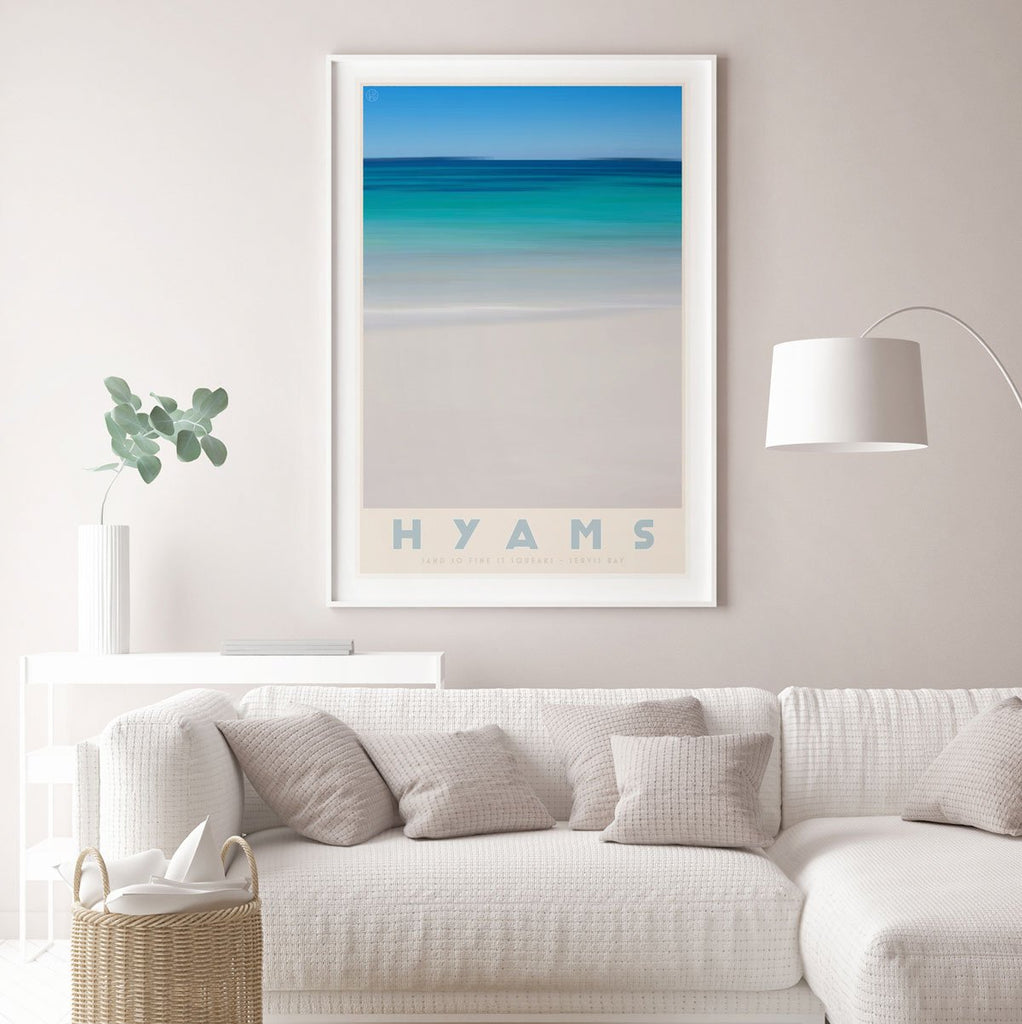 Hyams Beach framed print. Vintage travel style. original design by places we luv