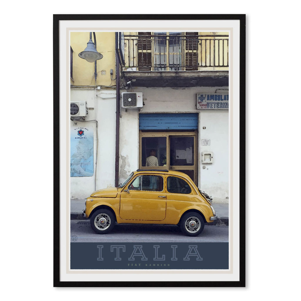 Italian bambino travel style black framed poster - places we luv