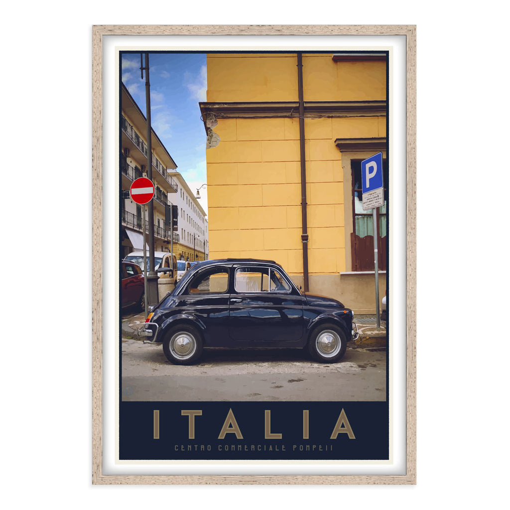 Italia bambino travel style oak framed poster - places we luv
