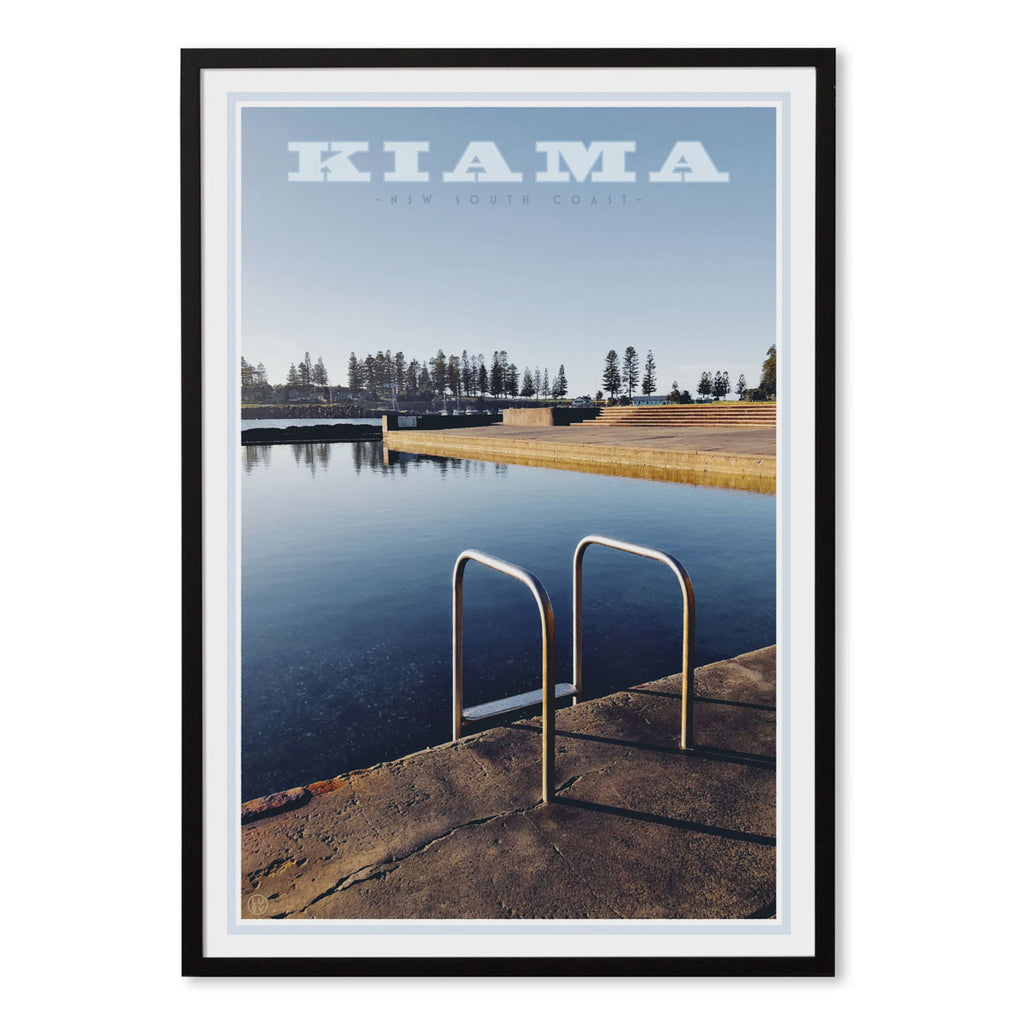 Kiama Pool Print black frame. Vintage travel style poster by places we love