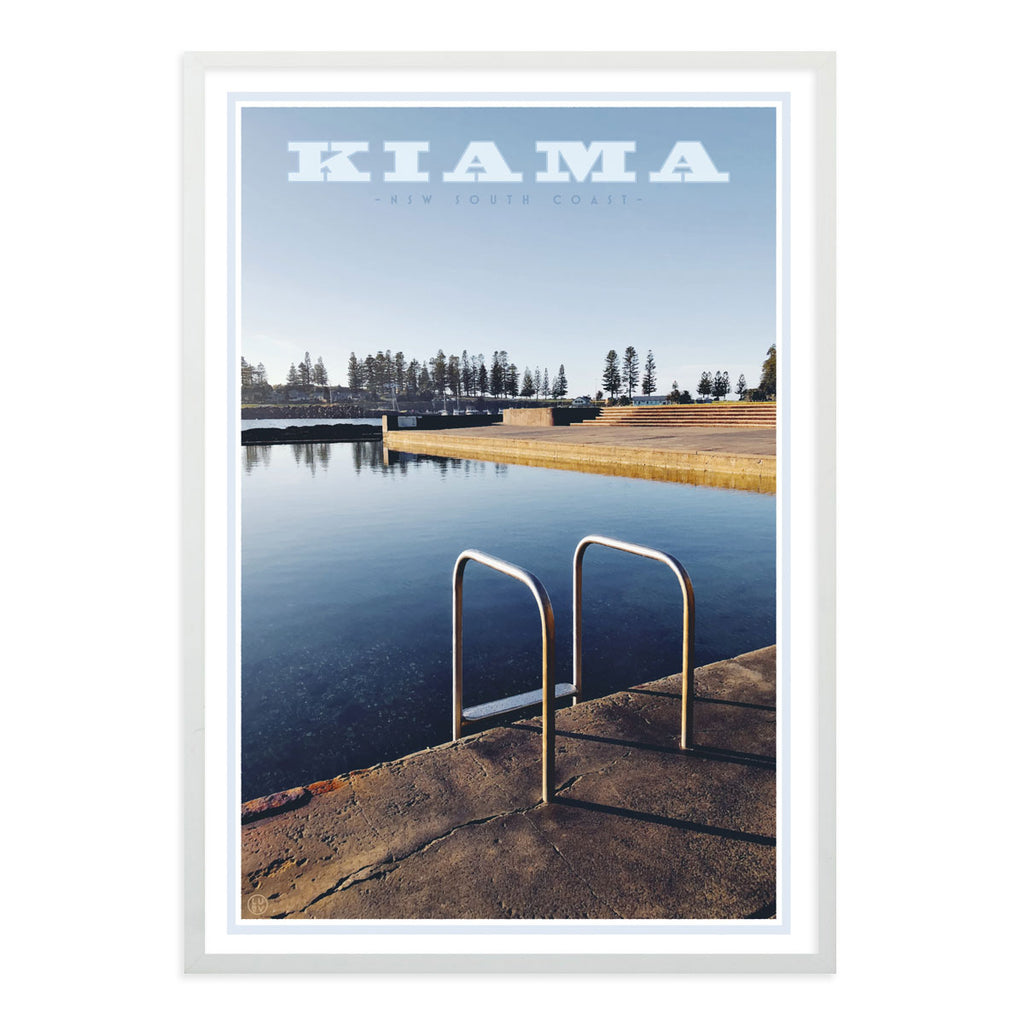 Kiama Pool Print white frame. Vintage travel style poster by places we love