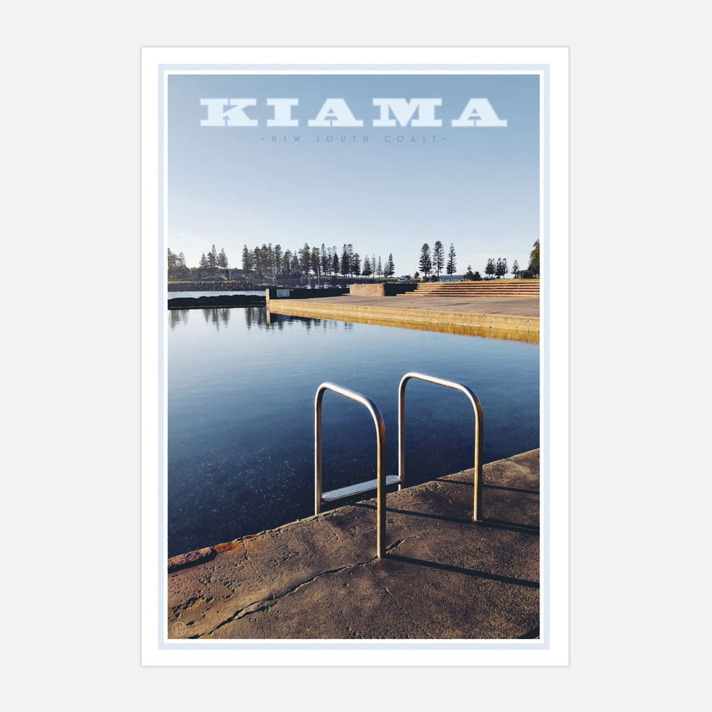 Kiama Pool Print. Vintage travel style poster original design by places we love