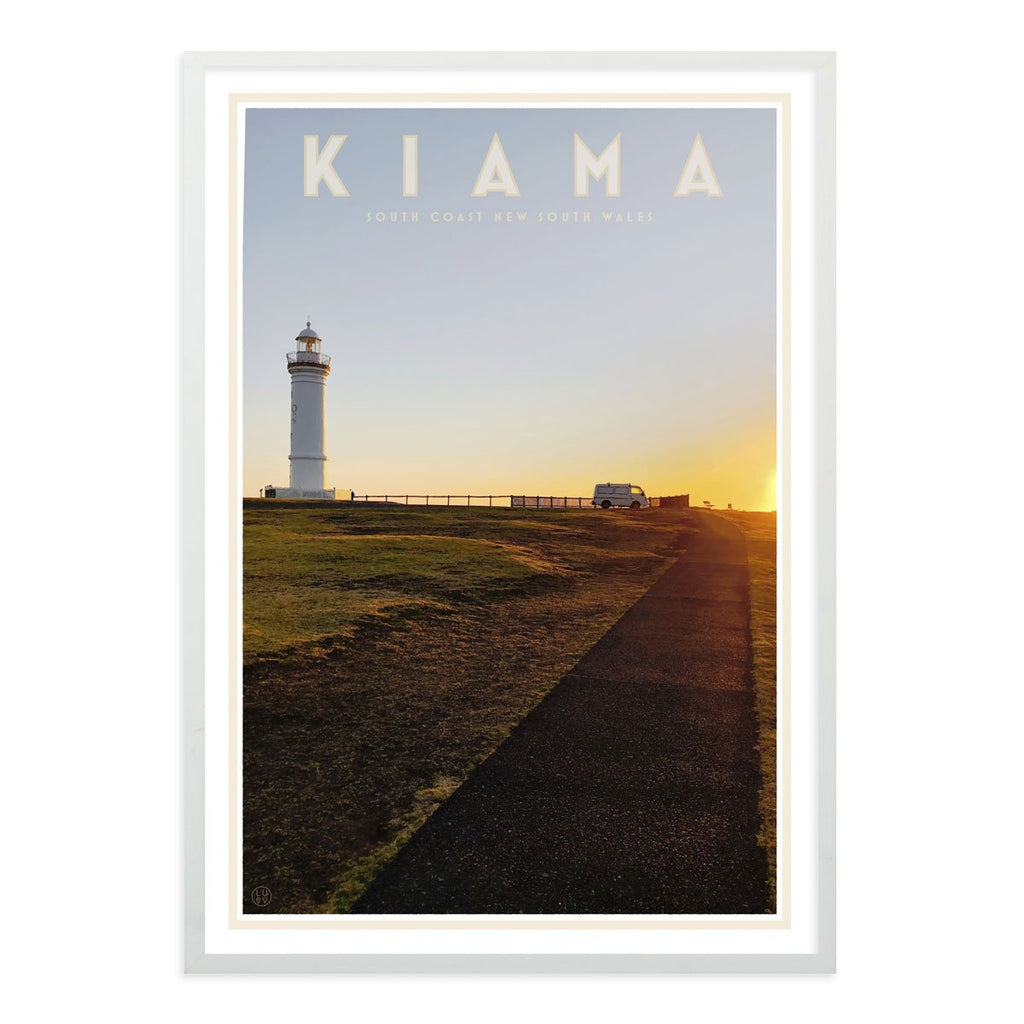 Kiama vintage travel style print in white frame - design by Places We Luv