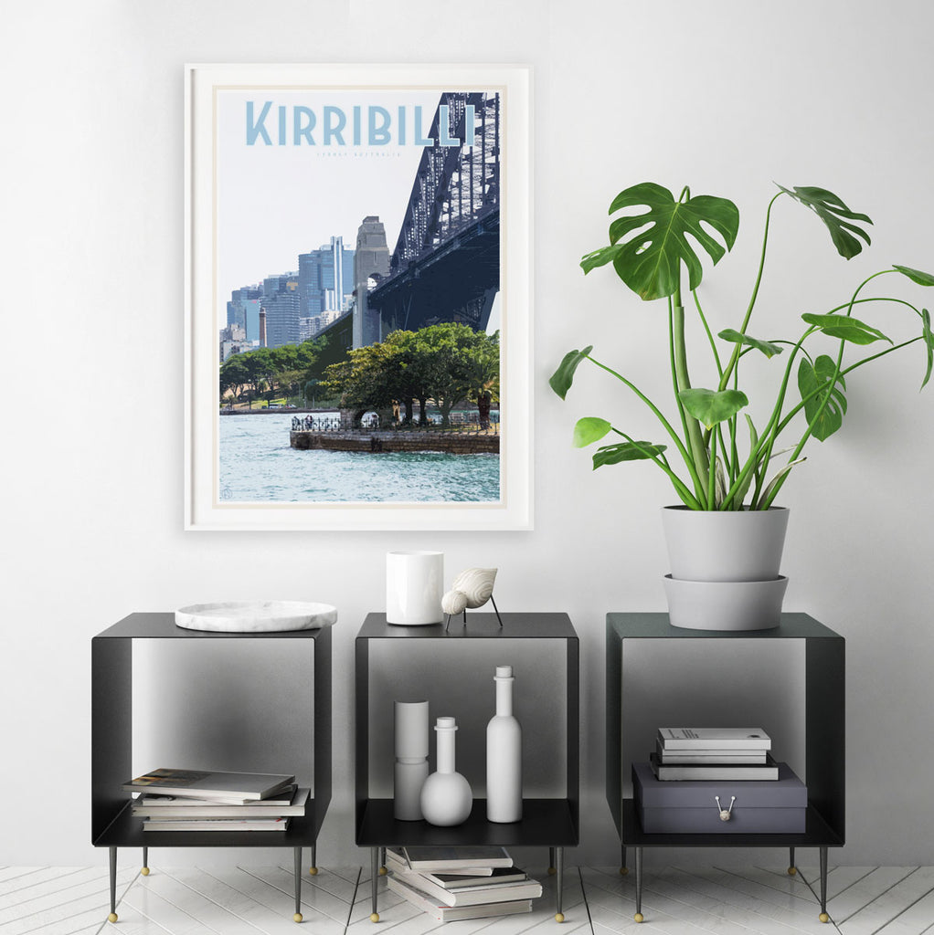 Kirribilli vintage travel style print by places we luv