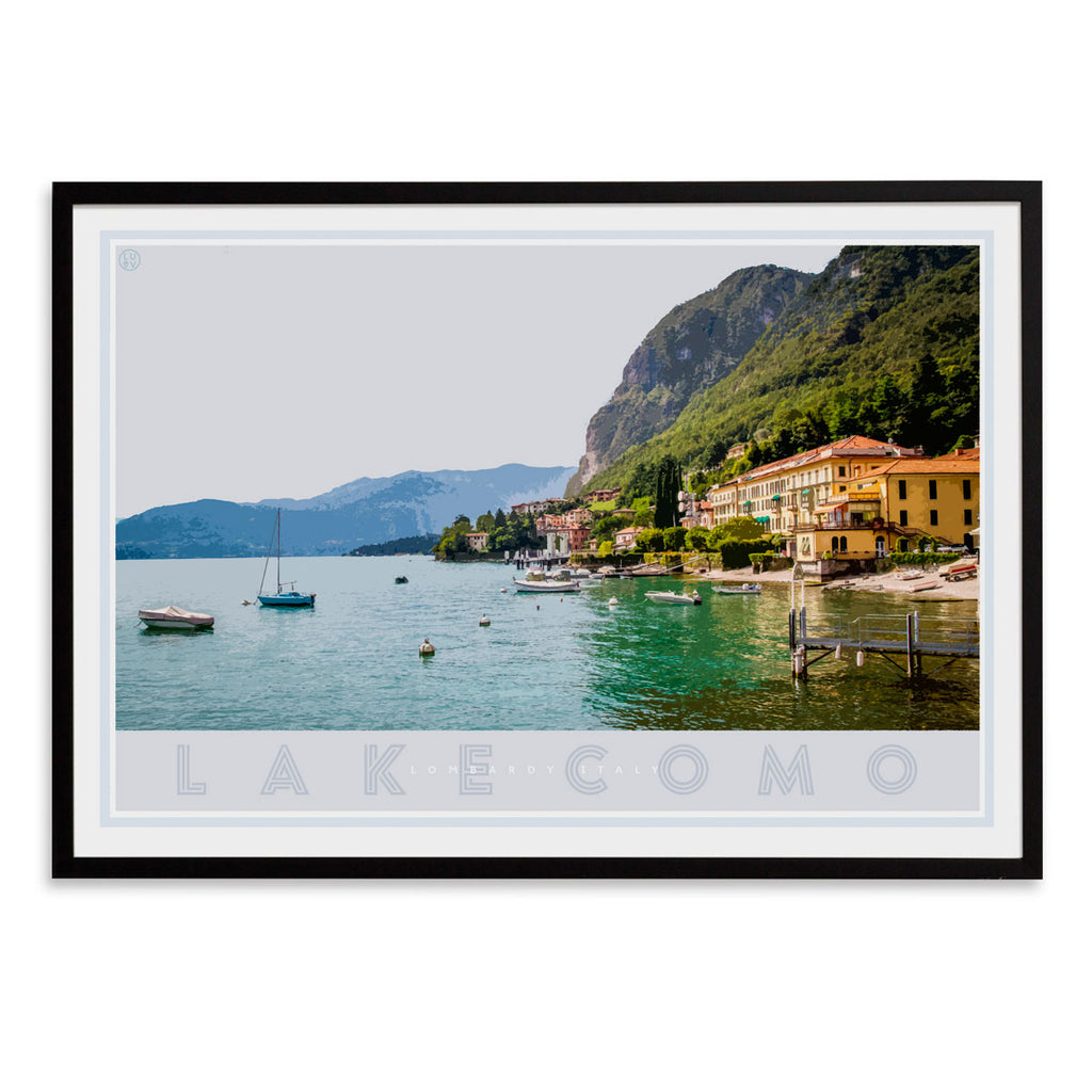 Lake Como Italy vintage travel style black framed poster by places we luv