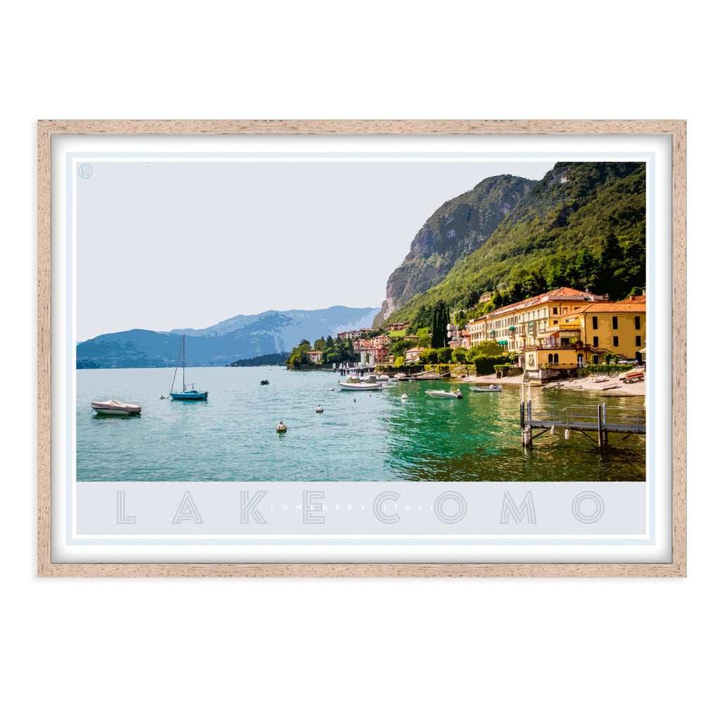 Lake Como Italy vintage travel style oak framed poster by places we luv