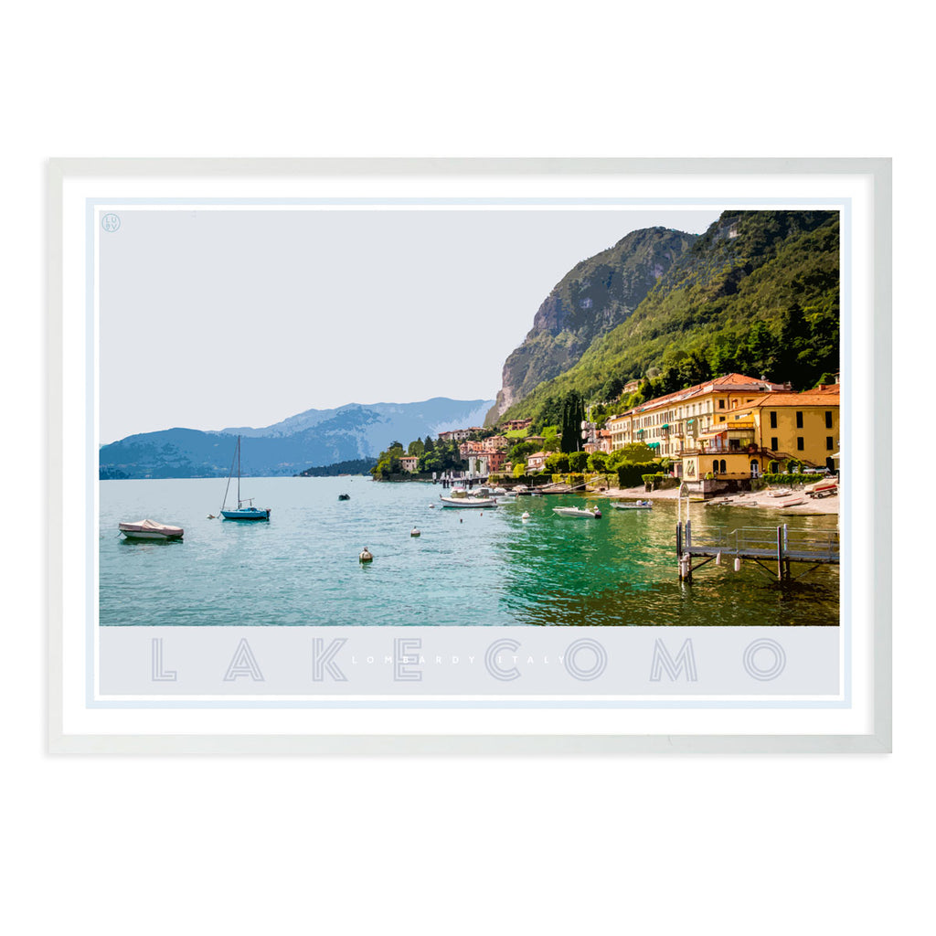 Lake Como Italy vintage travel style white framed poster by places we luv