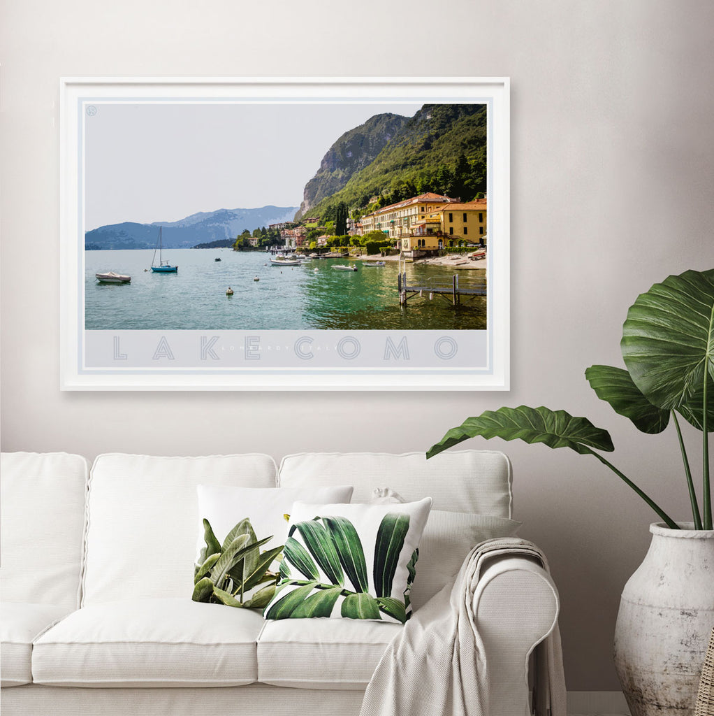 Lake Como Italy vintage travel style poster by places we luv