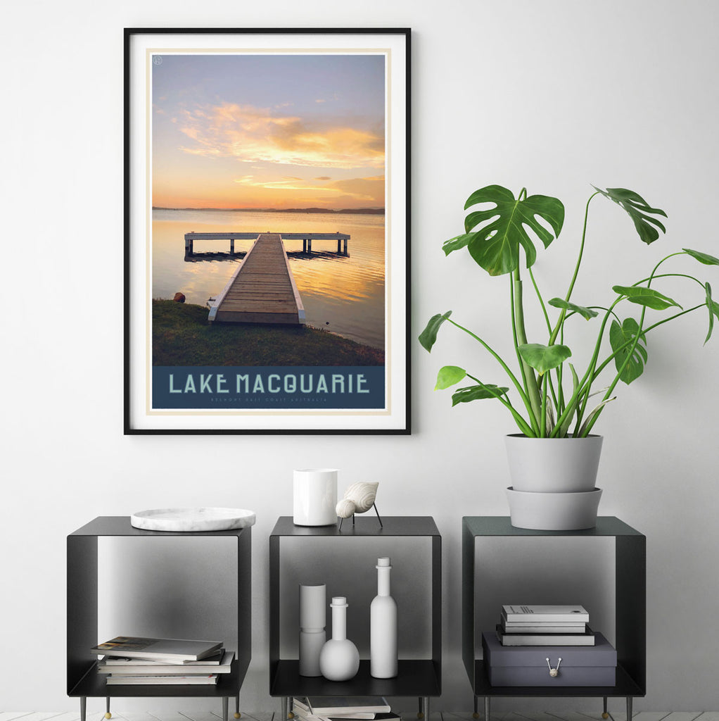 Lake Macquarie vintage travel style print by places we luv
