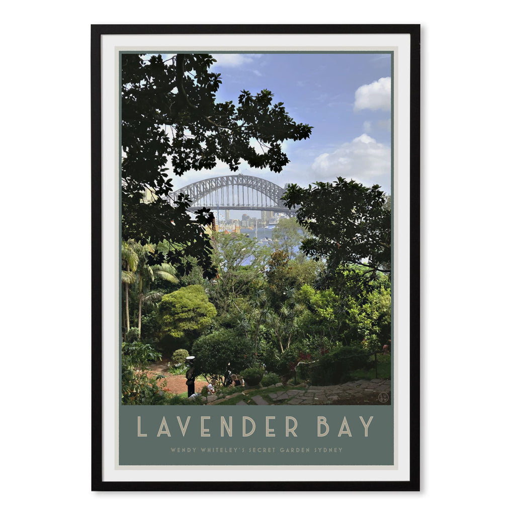 Lavender Bay vintage style travel black framed print by places we luv