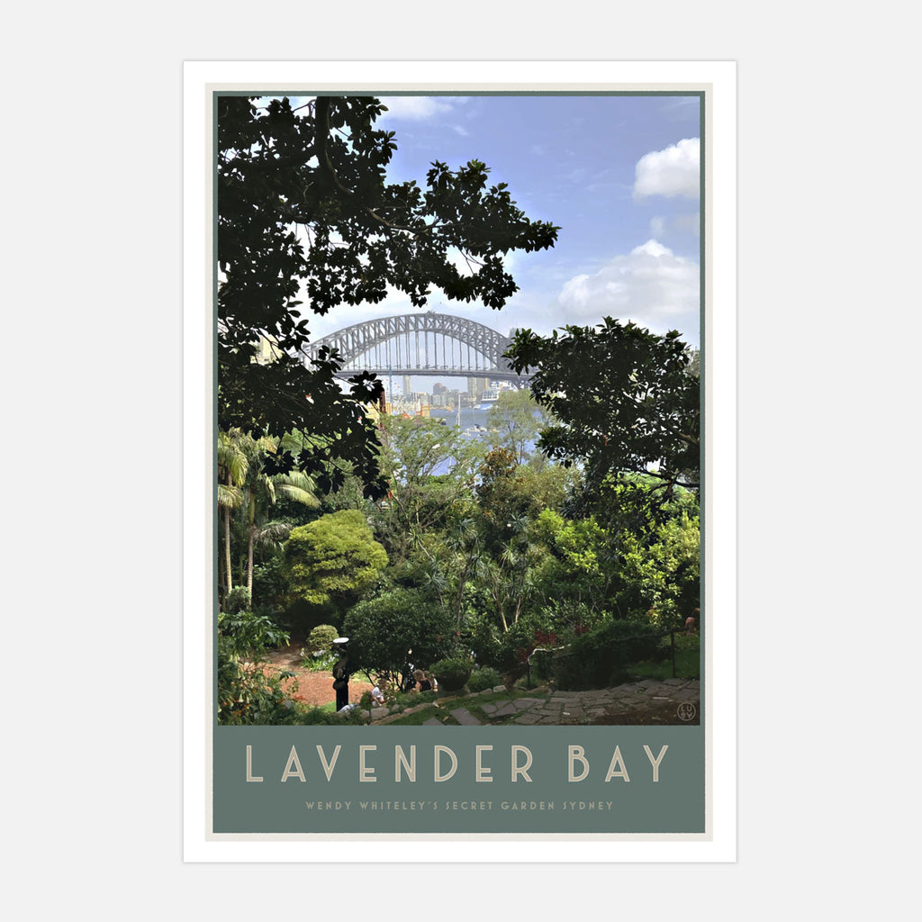 Lavender Bay vintage style travel oak framed print by places we luv