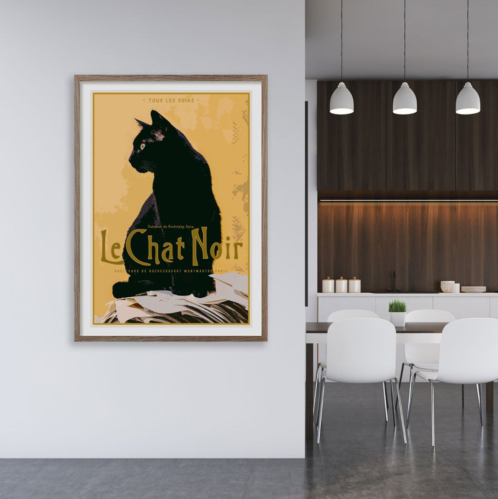 Le Chat Noir vintage travel style framed print by places we luv