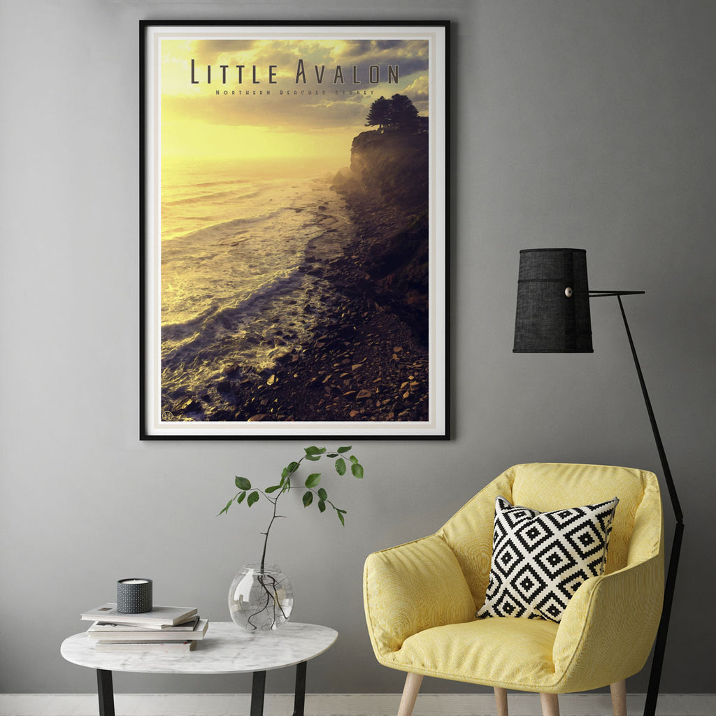 Travel print of Little Avalon headland. Original wall art from Places We Luv