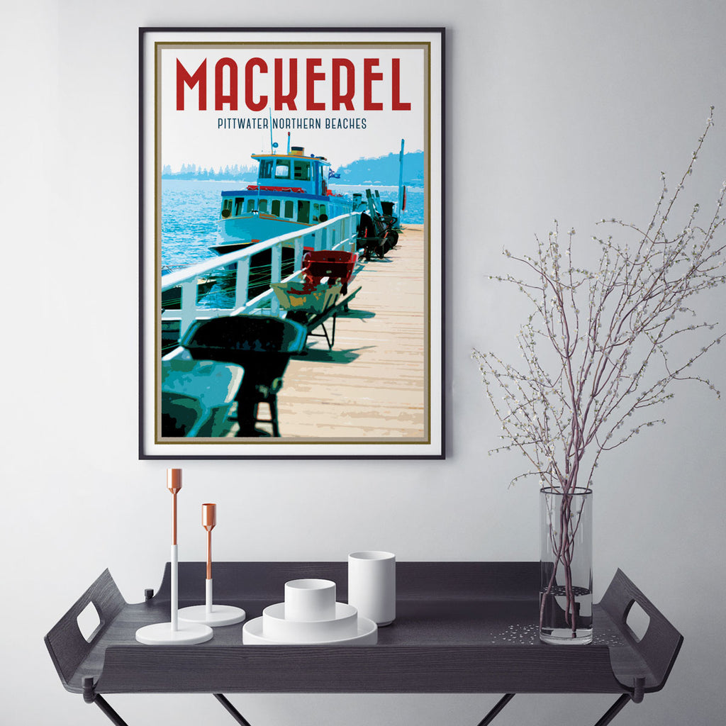 Mackerel Beach vintage travel style poster by places we luv