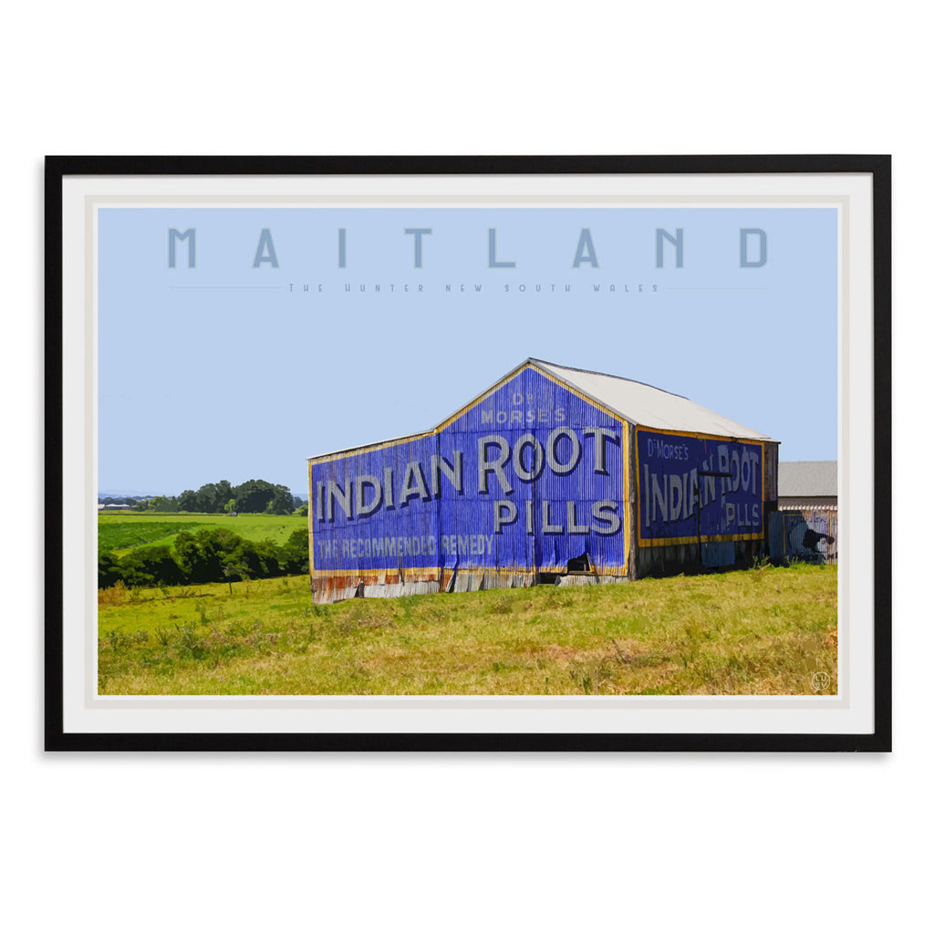 Maitland vintage travel style black framed print by places we luv