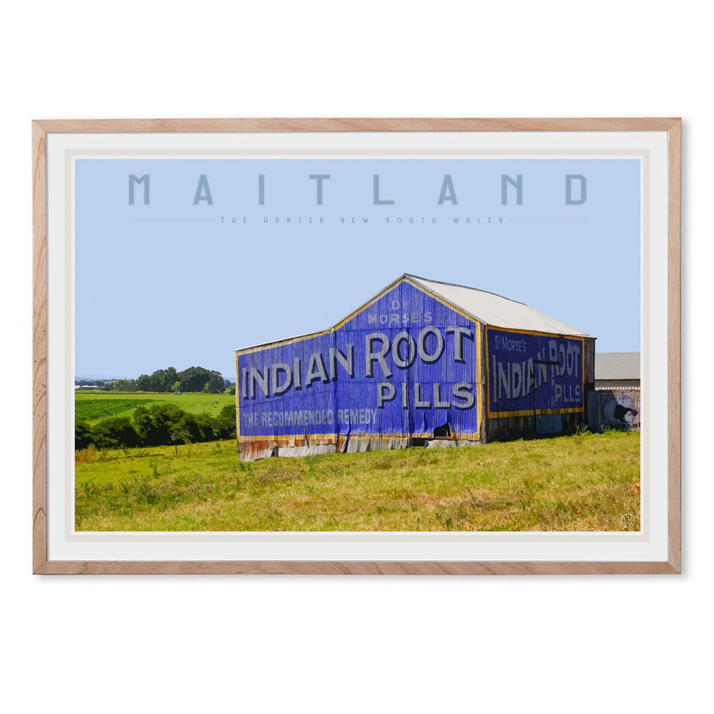 Maitland vintage travel style oak framed print by places we luv