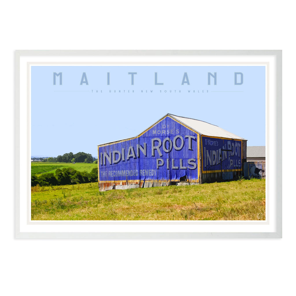 Maitland vintage travel style white framed print by places we luv