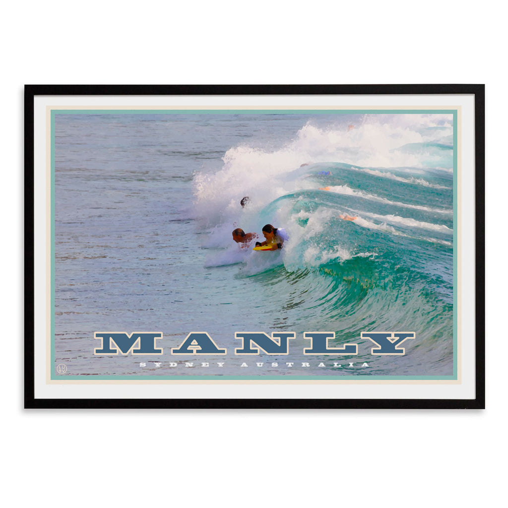 Vintage travel style framed wall art, manly northern beaches, Places We Luv
