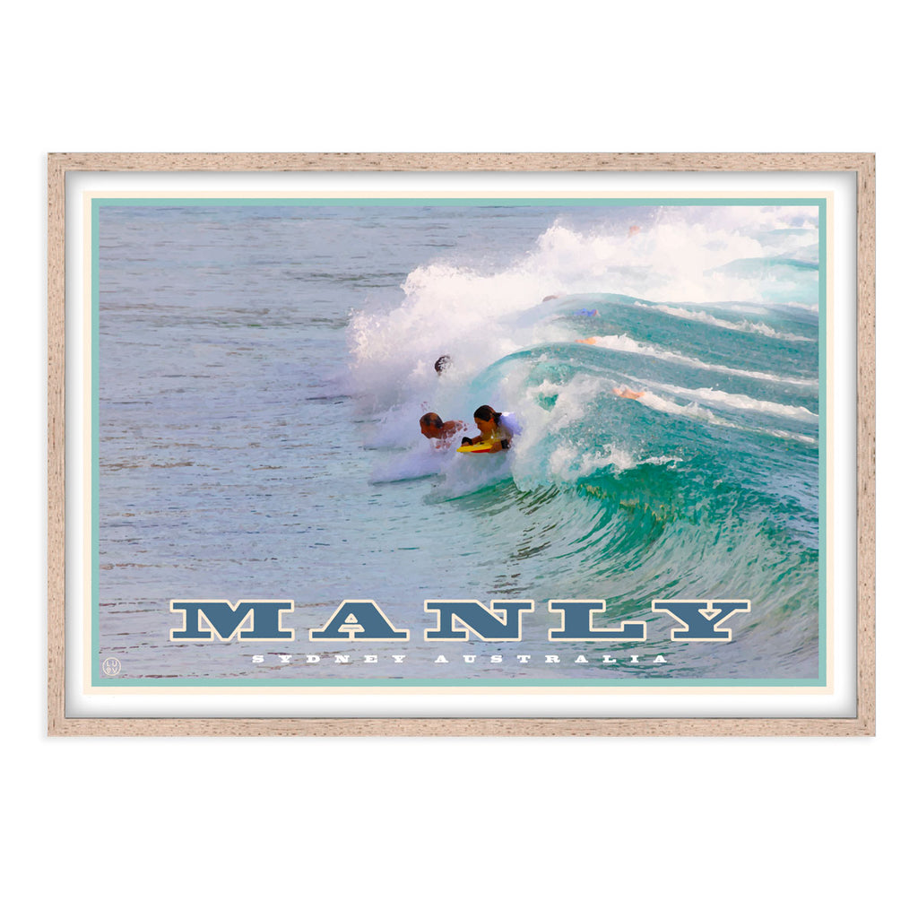 Vintage travel style, framed, affordable, wall art, manly northern beaches, Places We Luv