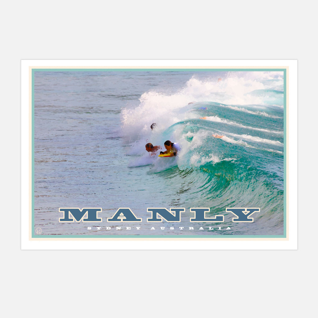 Vintage travel style art prints, manly northern beaches, Places We Luv