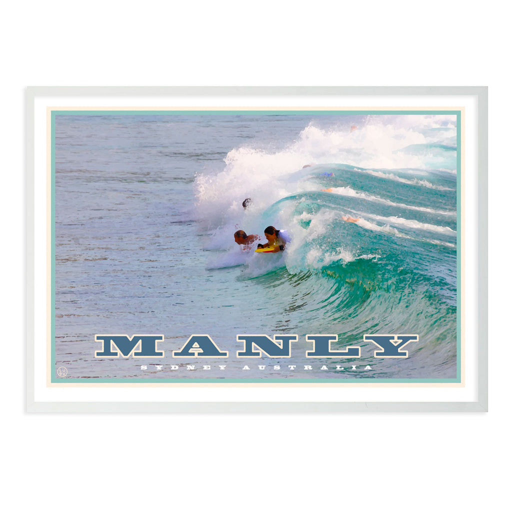 Vintage travel style wall art, framed, prints and posters, manly northern beaches, Places We Luv