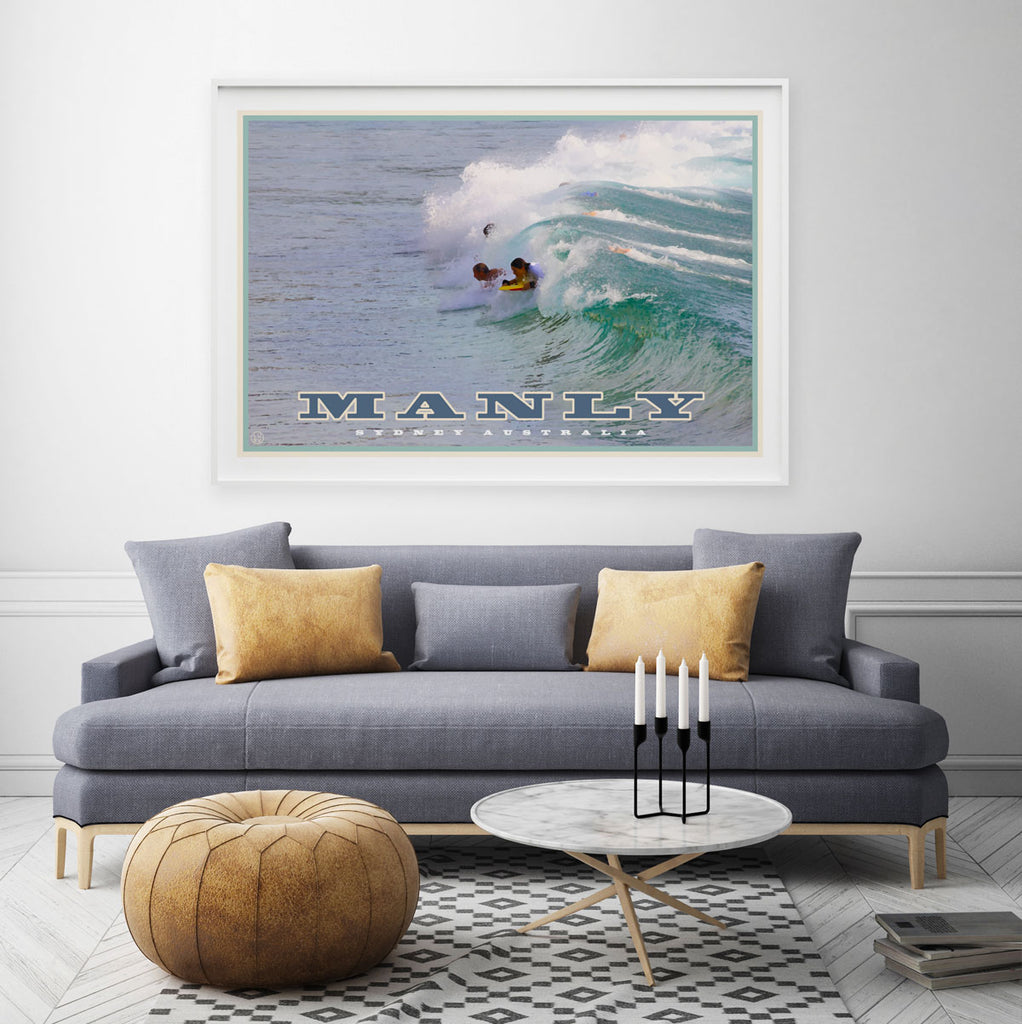 Vintage travel style wall art, manly northern beaches, Places We Luv
