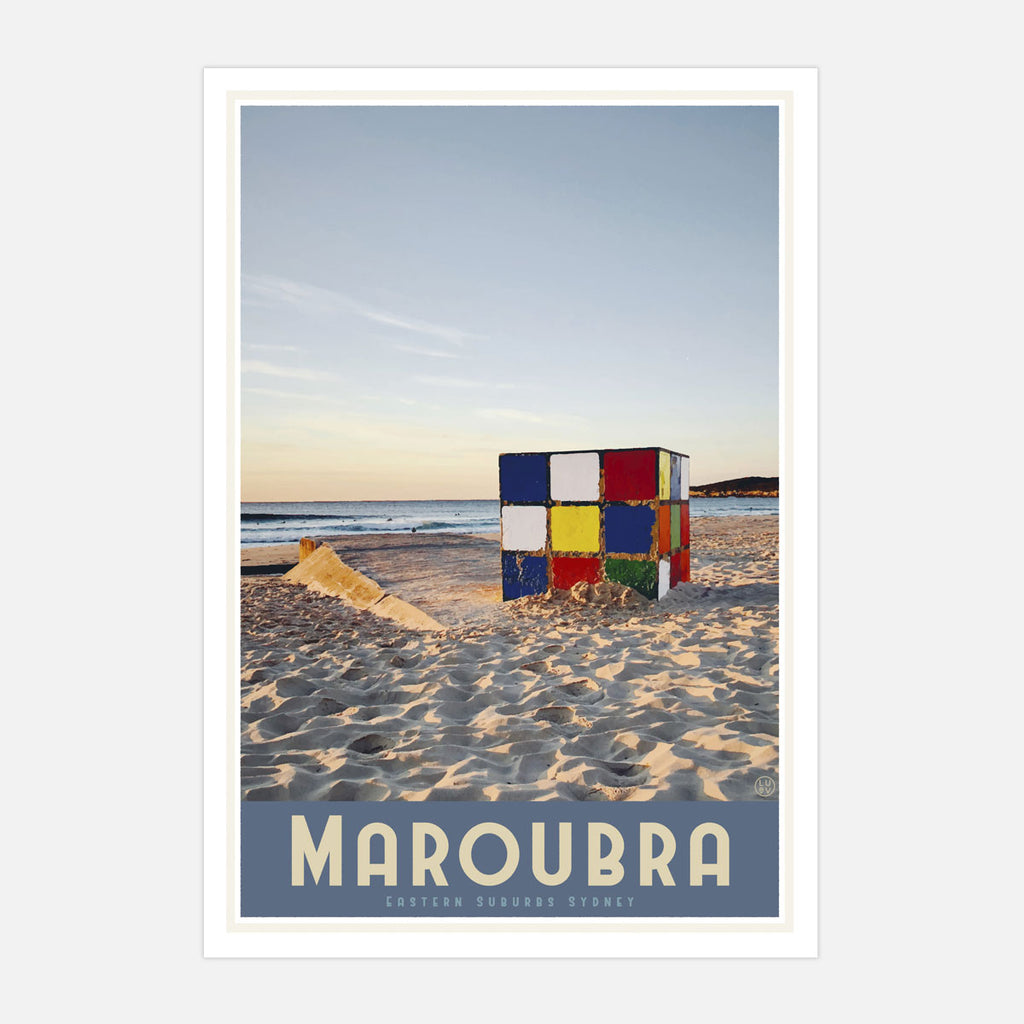 Maroubra cube vintage style travel print by places we luv