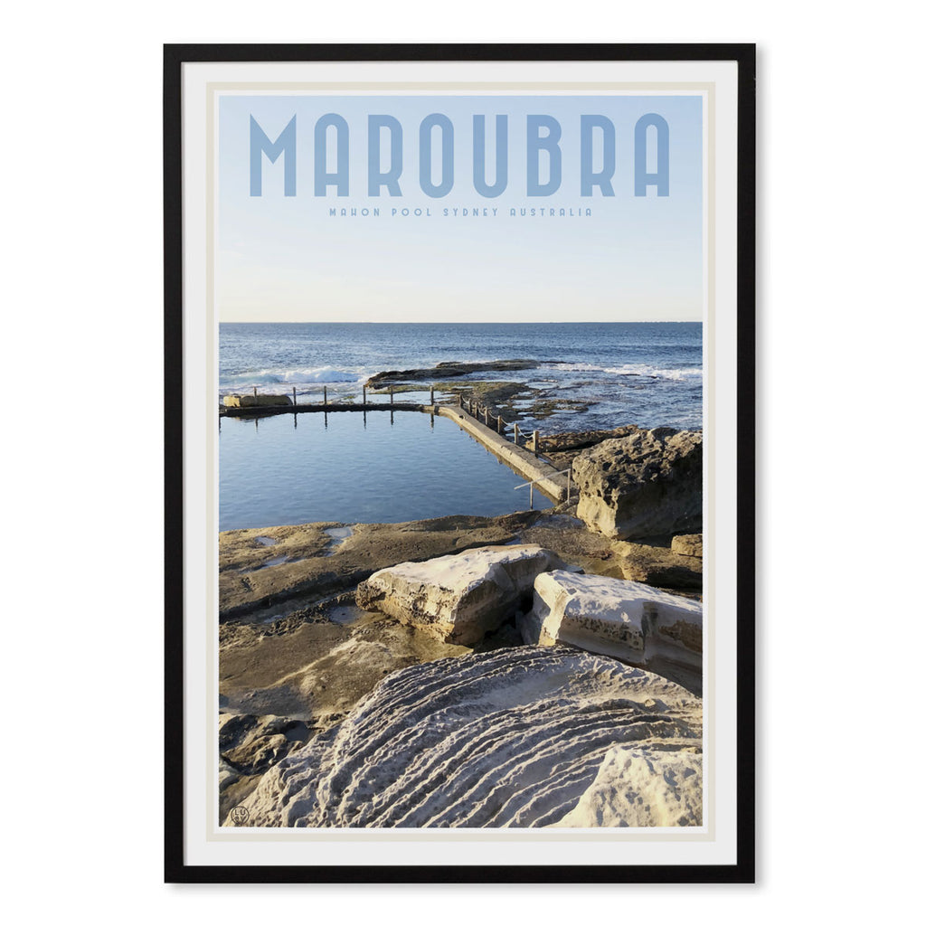 Maroubra Mahon Pool vintage style travel black framed print by places we luv