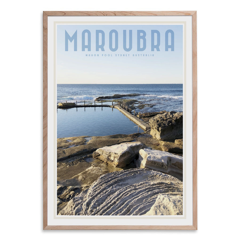 Maroubra Mahon Pool vintage style travel oak framed print by places we luv