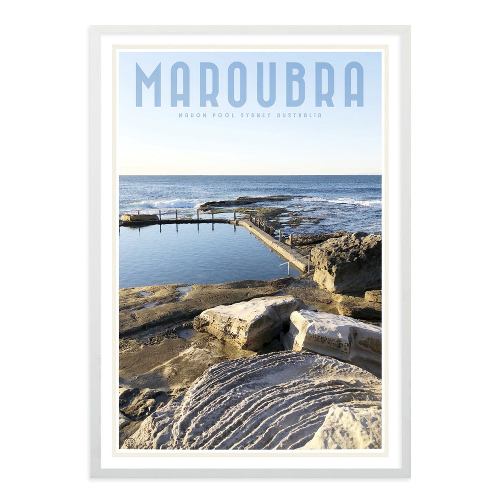 Maroubra Mahon Pool vintage style travel white framed print by places we luv