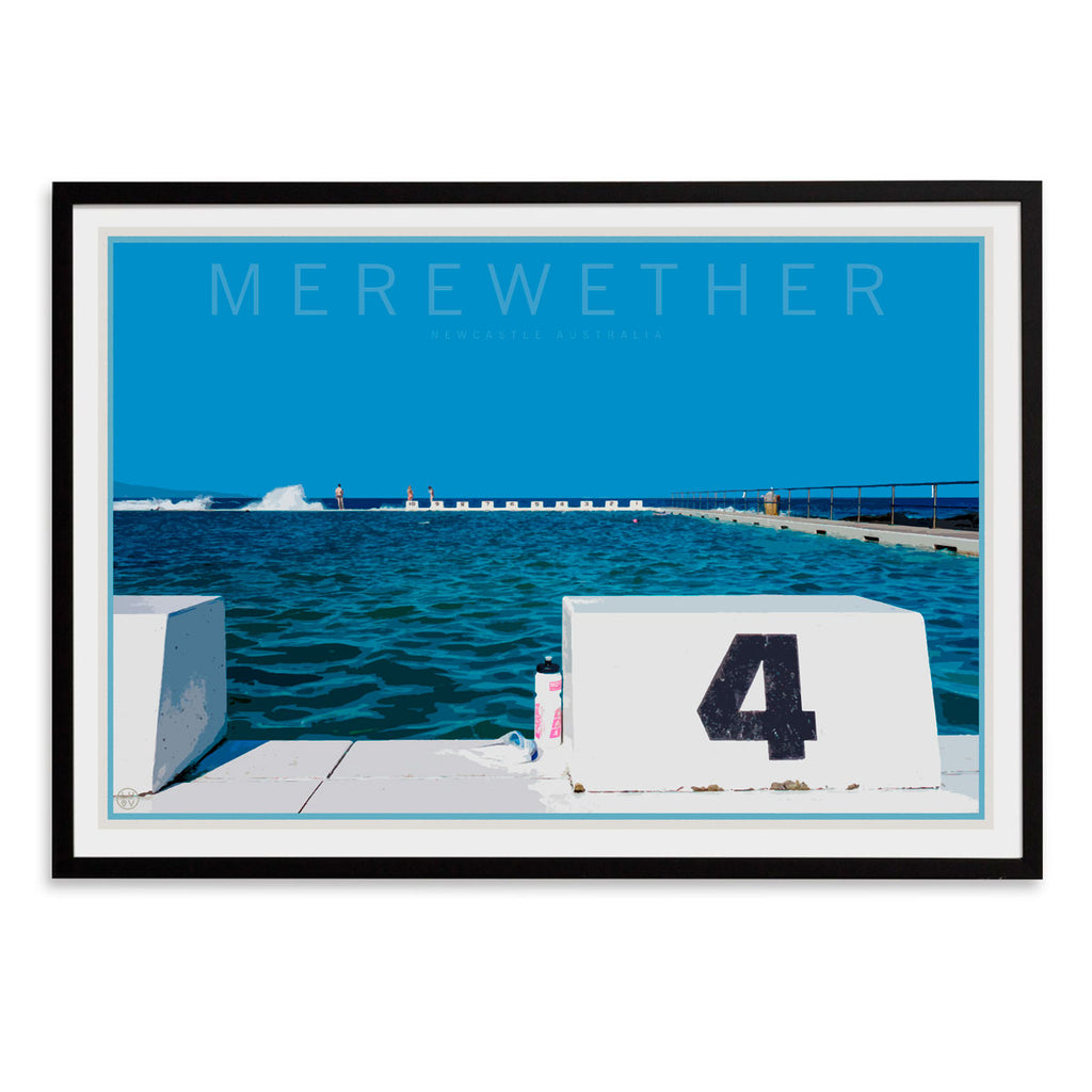Merewether beach print in black frame travel style by places we luv