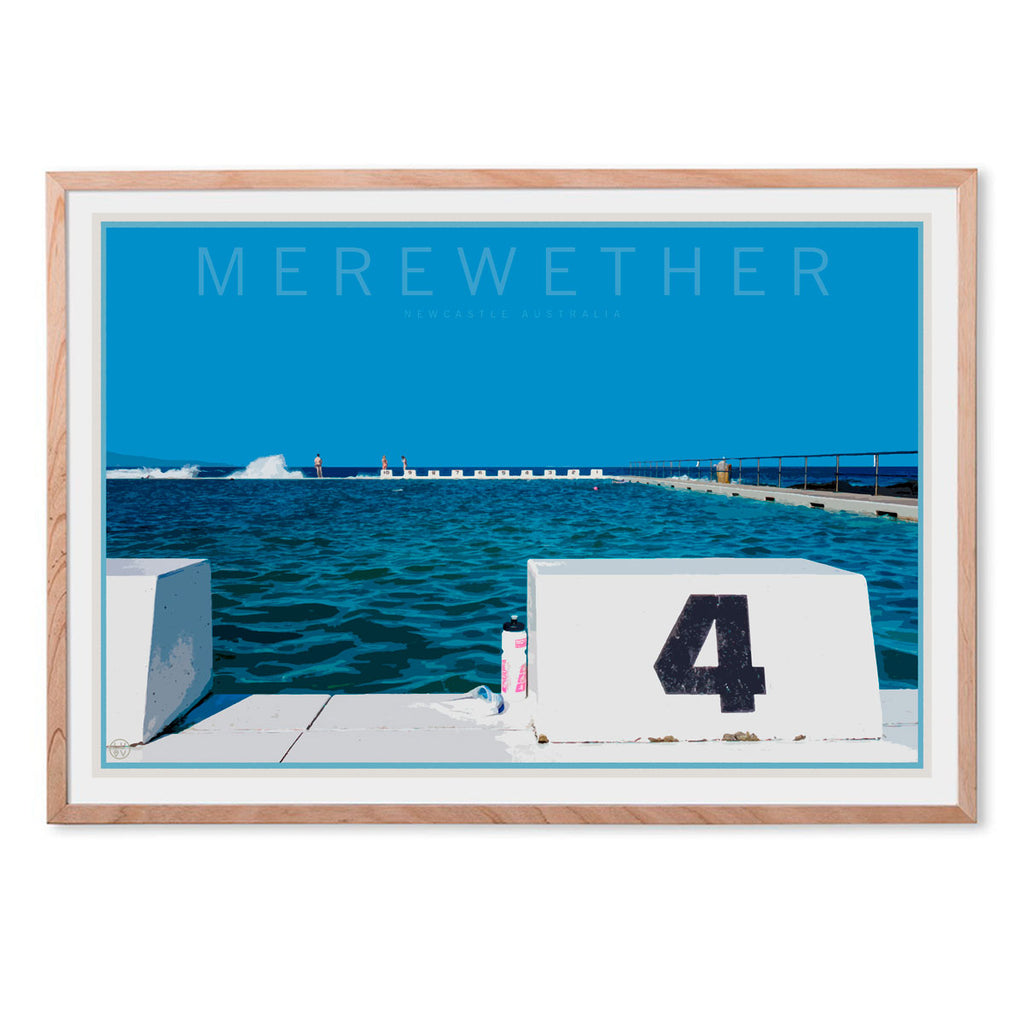Merewether beach print travel style in oak frame by places we luv