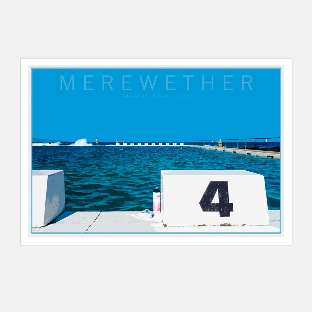 Merewether beach vintage style travel print by places we luv