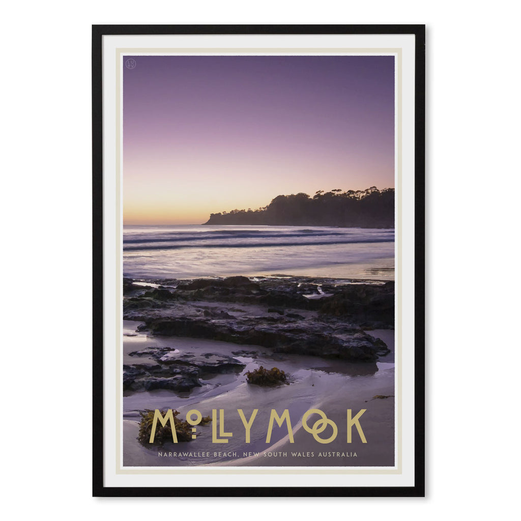 Mollymook black framed print, vintage travel poster style. Original design by Places We Luv