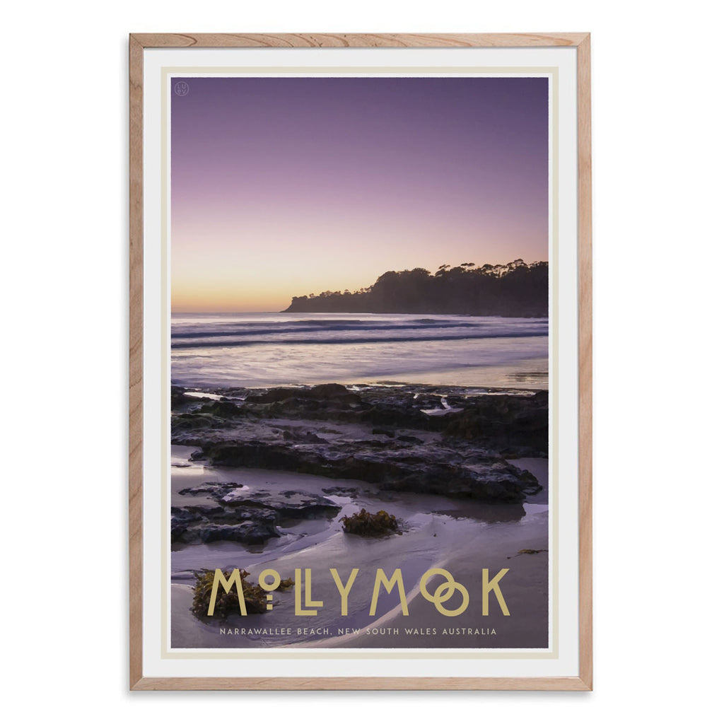 Mollymook oak framed print vintage travel poster style. Original design by Places We Luv
