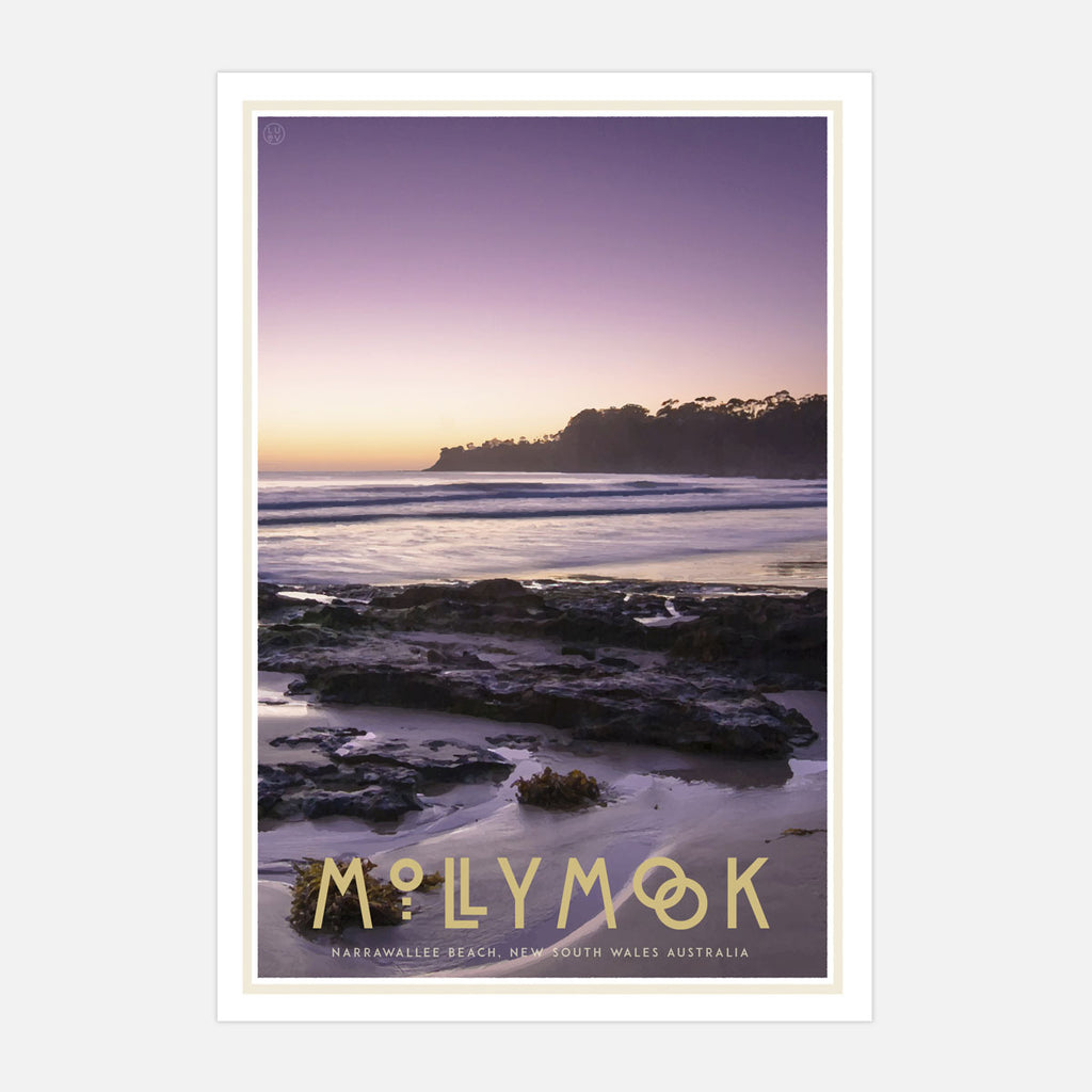 Mollymook print vintage travel poster style. Original design by Places We Luv
