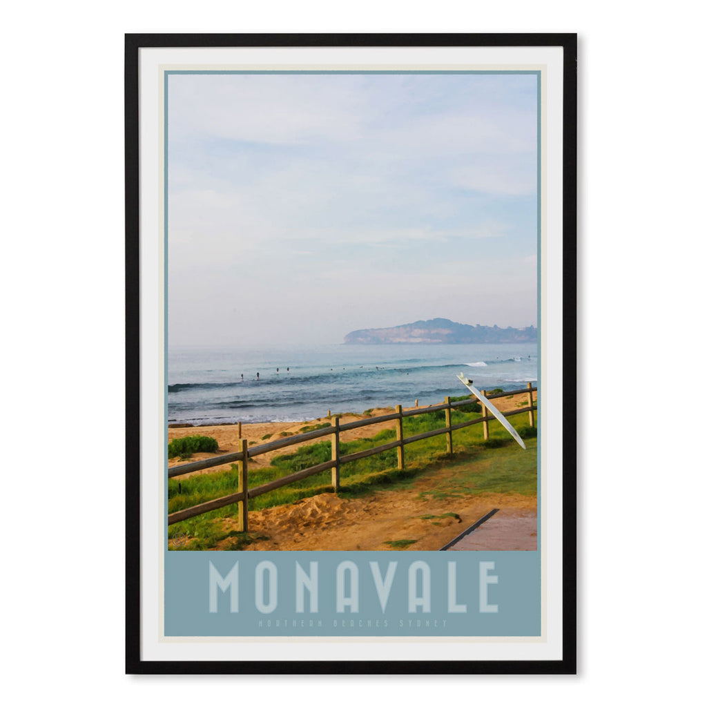 Mona Vale vintage travel style print by places we luv in black frame