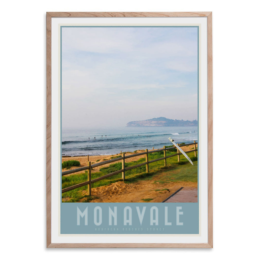 Mona Vale vintage travel style print by places we luv in oak frame