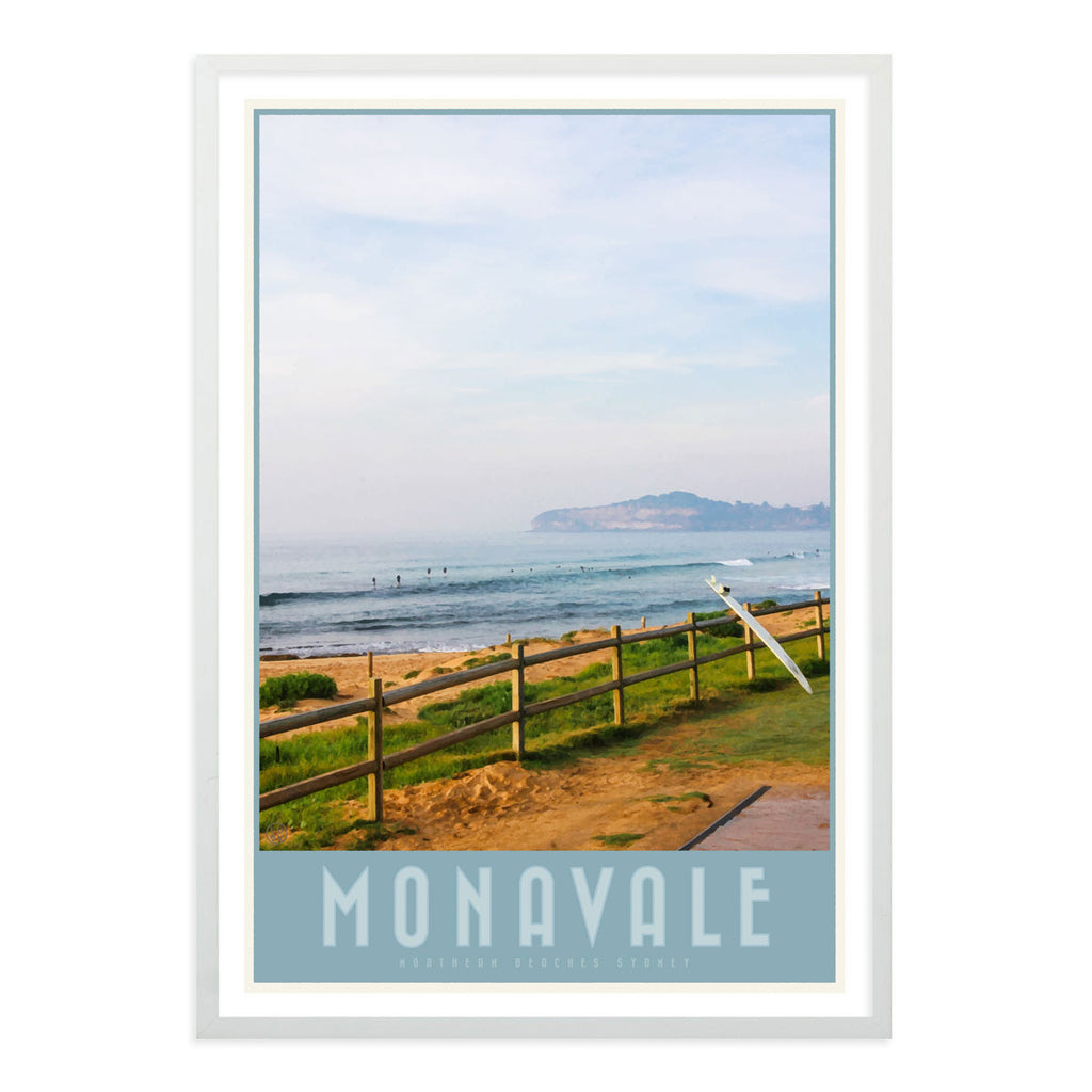 Mona Vale vintage travel style print in white frame by places we luv
