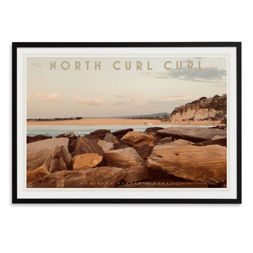 Curl Curl North Two - vintage style travel black framed print by places we luv