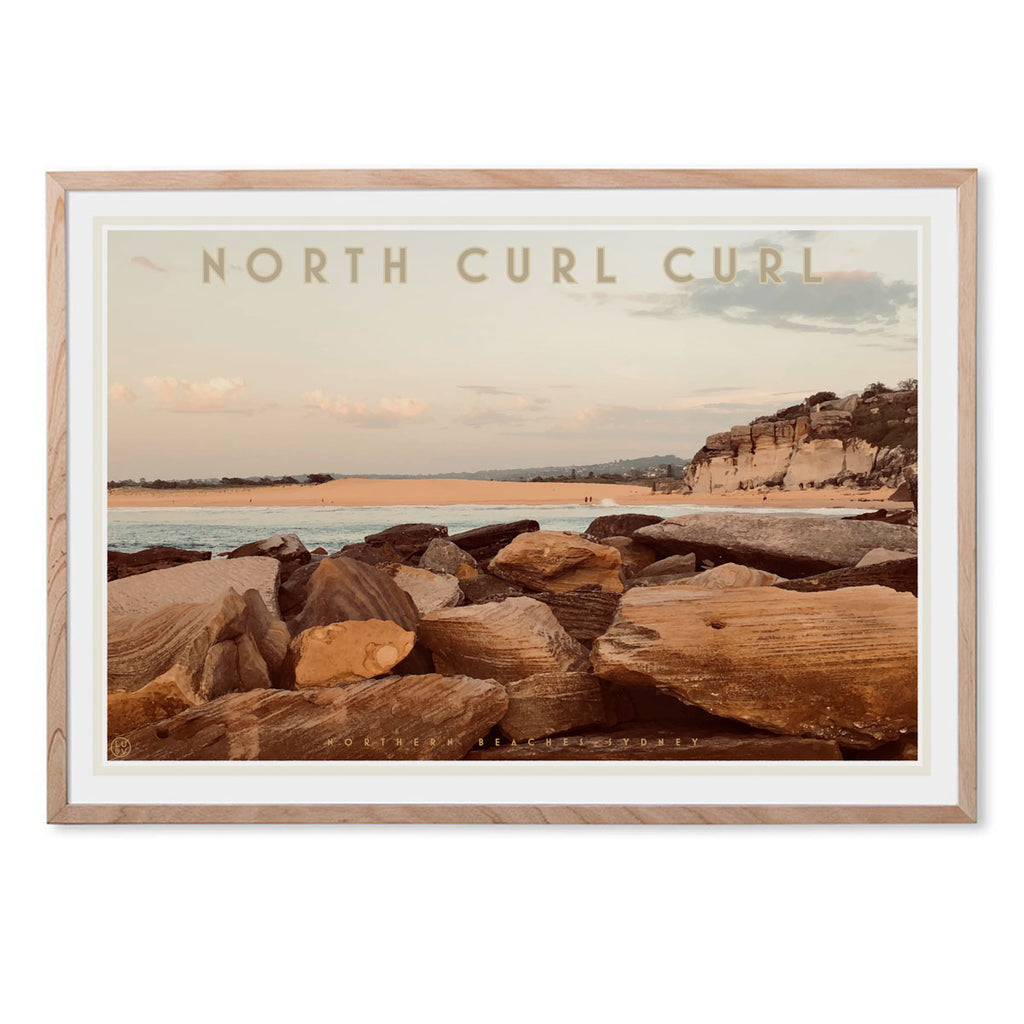 Curl Curl North Two - vintage style travel oak framed print by places we luv