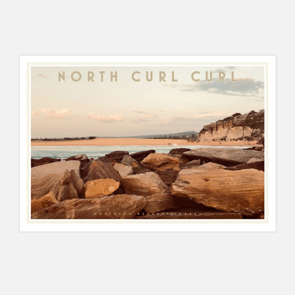 Curl Curl North Two - vintage style travel print by places we luv