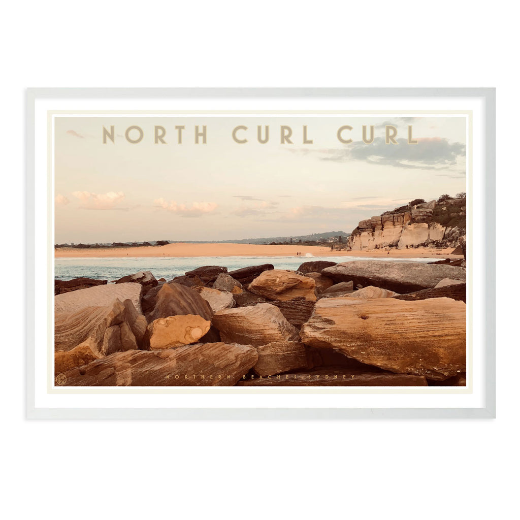 Curl Curl North Two - vintage style travel white framed print by places we luv