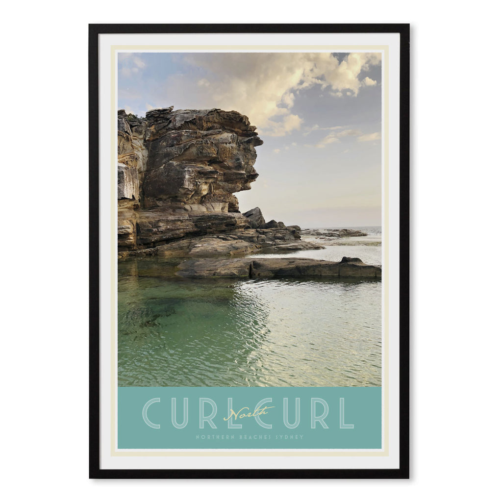 North Curl Curl Pool vintage travel style black framed poster by places we luv