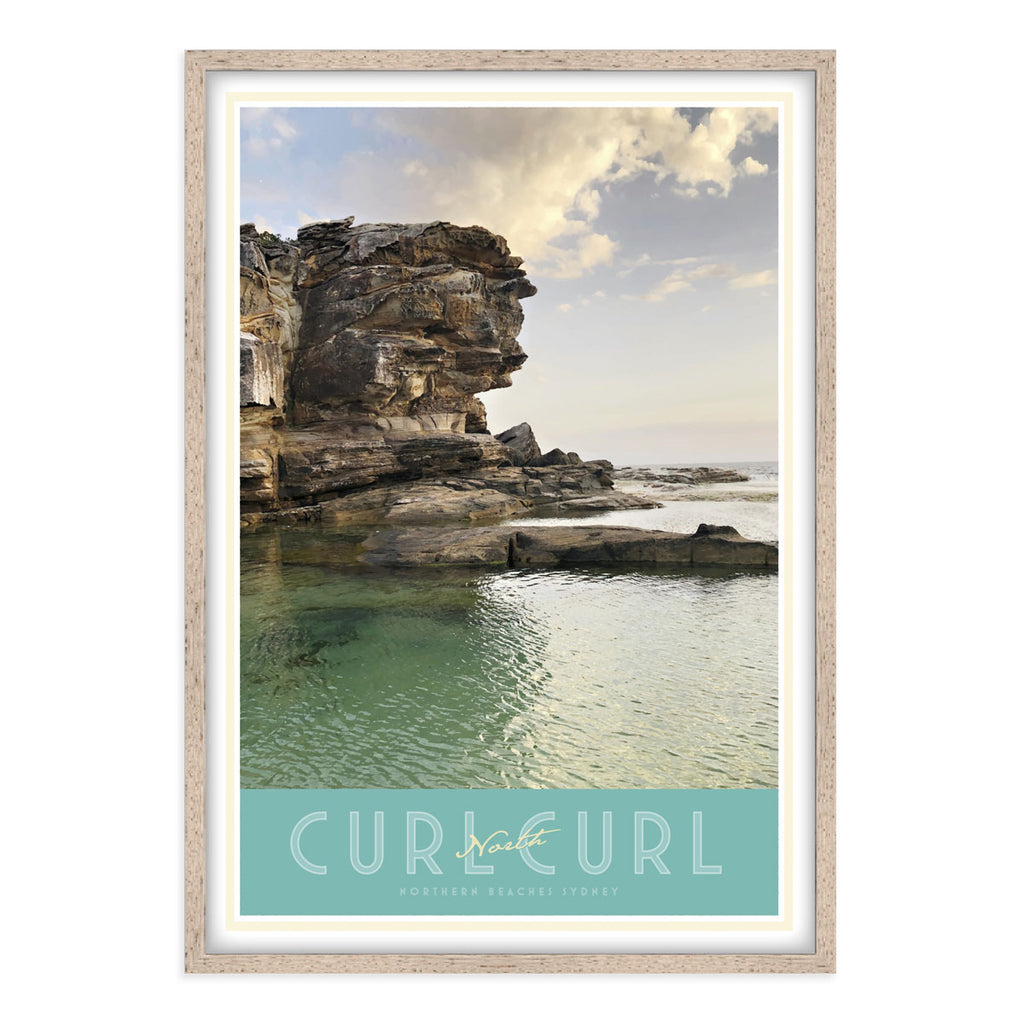 North Curl Curl Pool vintage travel style oak framed poster by places we luv